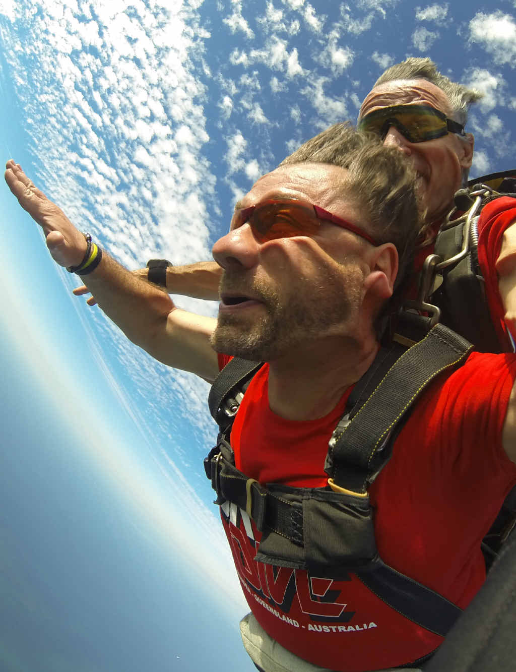 DAY IN THE LIFE: Vladimir Kroc and Tibor Glesk feel the air rush past while skydiving.