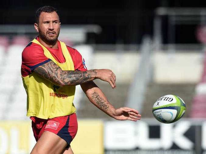 Queensland Reds player Quade Cooper in action during training in Brisbane.