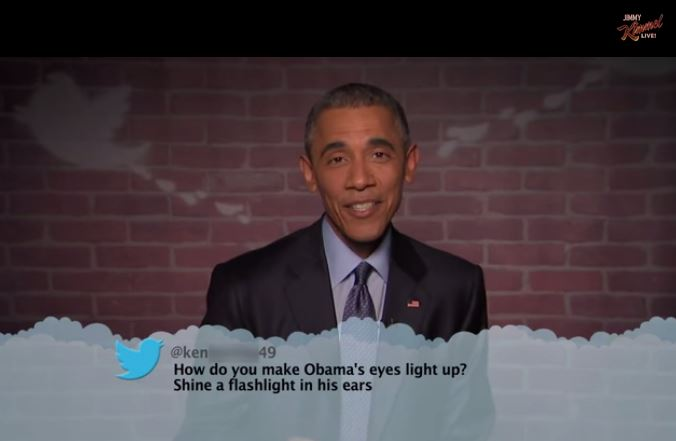 United States President Barack Obama reads mean tweets about himself