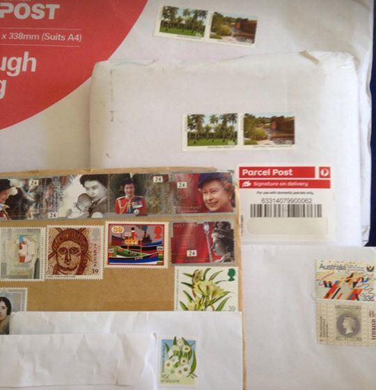 Lucy Dwyer shared this photo of the parcels and letters she received today, not of which had been stamped by Australia Post.