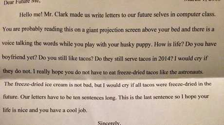 A young girl in 2005 writes to her 2014 self, making sure the future is one that includes tacos