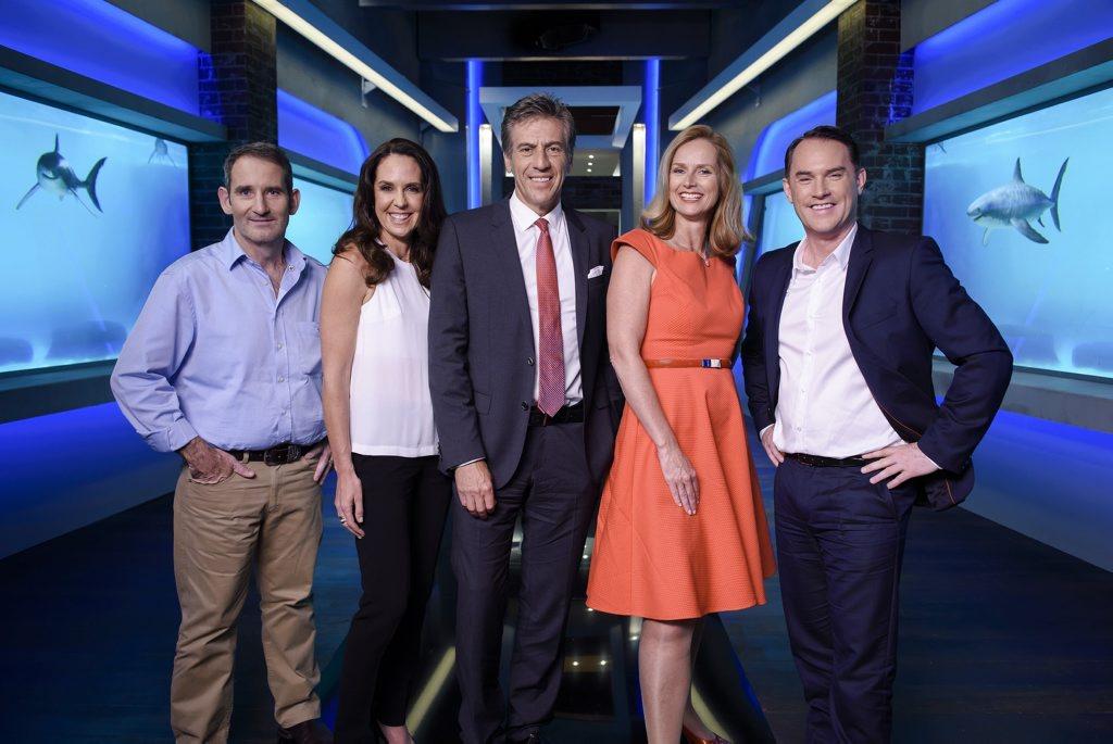 Shark Tank hosts Steve Baxter, Janine Allis, Andrew Banks, Naomi Simson and John McGrath.
