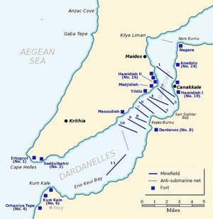 A map showing the defences of the Dardanelles in March 1915. Minefield no 11, in Eren Keui Bay, had been laid without the British knowing on the night of March 8.