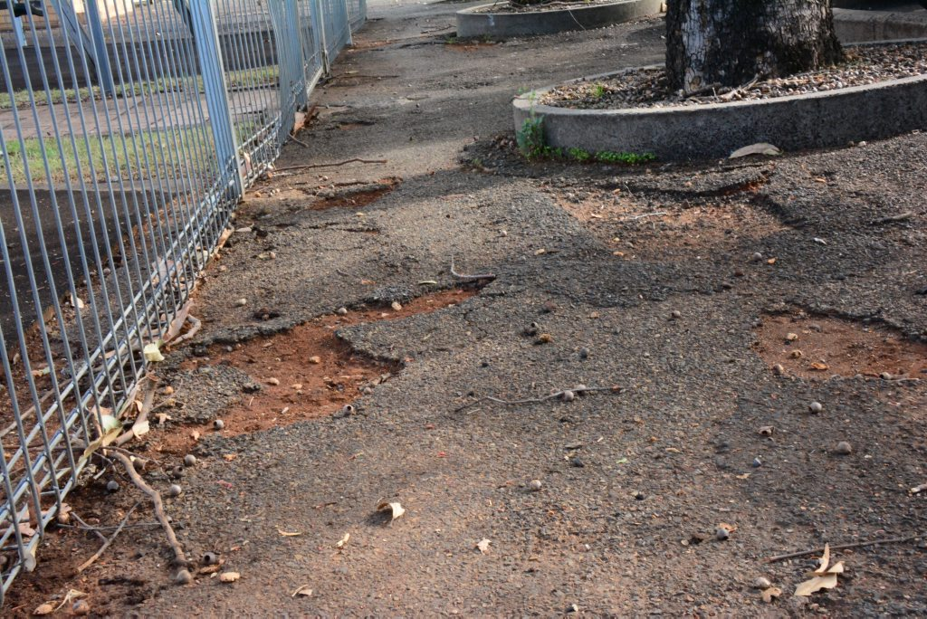 CRACKED: Glendon St carpark is getting fixed. Photo Katherine Morris / South Burnett Times