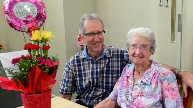 Hal Stone with his mother Elsa Stone celebrating her 100th birthday in Rockhampton. Photo Sharyn O'Neill / Morning Bulletin