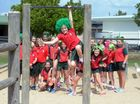 CRAZY HAIR DAY: Woongarra State School students and Keenan Mullaney host a crazy hair day on St Patrick's Day to raise money for Thangool State School which was affected by cyclone Marcia. Photo: Max Fleet / NewsMail