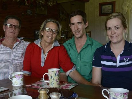 Catching up at thier Southbrook family home are Ian and Christine Handley with their children Scott and Emma Handley, who were in Port Vila, Vanuatu, when Cyclone Pam struck.