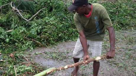 The clean-up in the aftermath of Cyclone Pam.