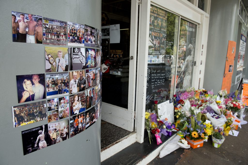 Tributes outside Smithy's Gym.