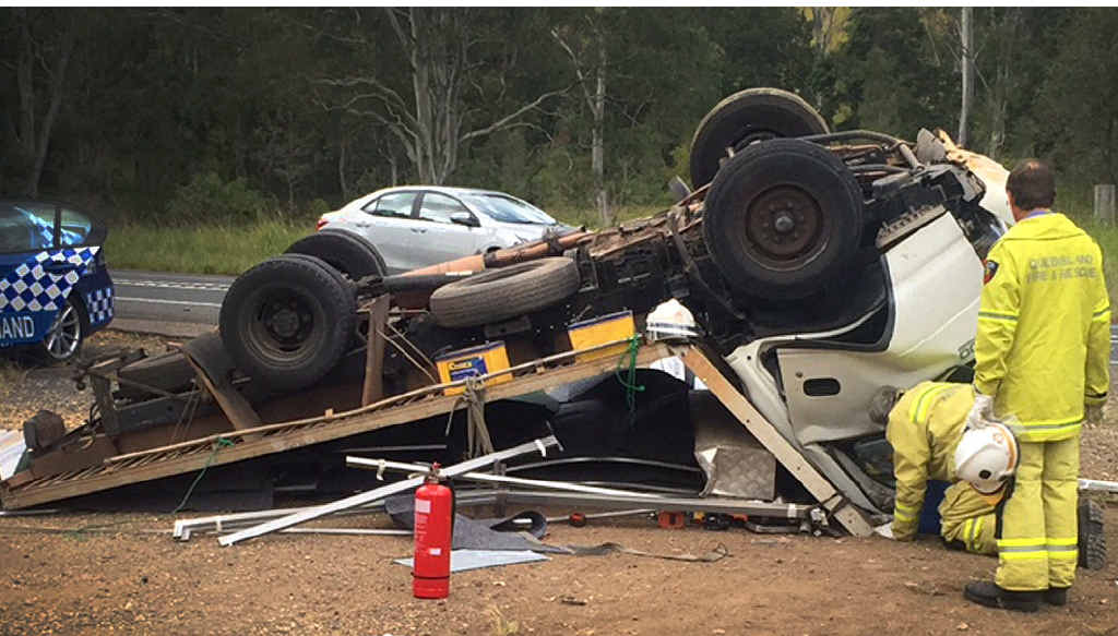 LUCKY ESCAPE: The driver of this truck escaped with only minor injuries yesterday.