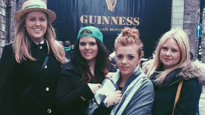 FESTIVE FUN: Shanyn Bennett, Rockhampton's Sarah Pascoe and Penny Lepine check out the Guinness factory ahead of St Patrick's Day in Ireland.