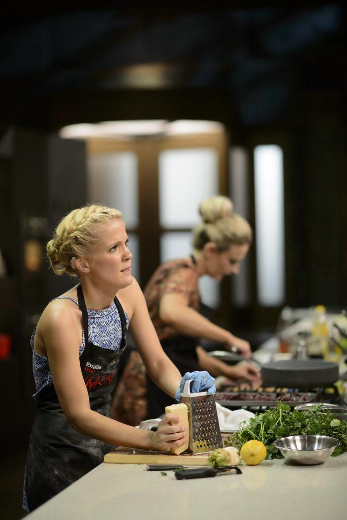 Emilie Biggar and Sheri Eddington, background, pictured during their sudden-death elimination cook-off.
