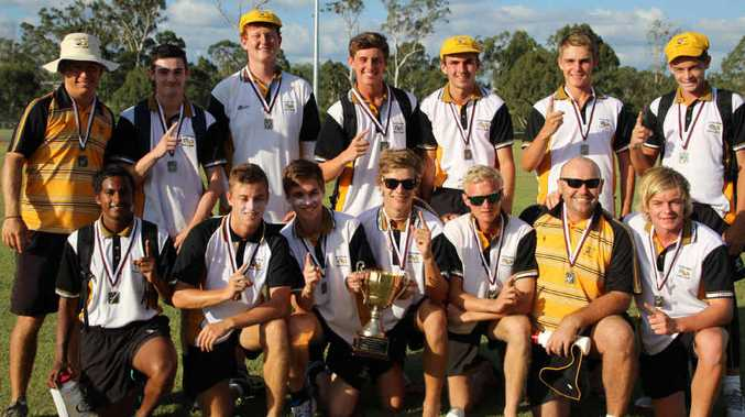 PURE GOLD: The Capricornia Under 19 cricket team celebrates winning the Qld Secondary Schools state titles over the weekend.