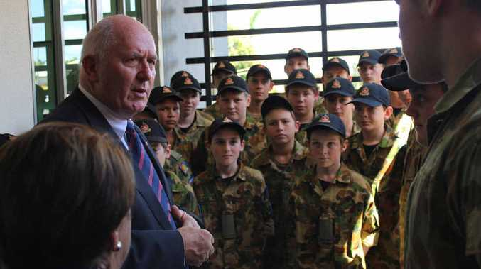 A MAJOR VISIT: Sir Peter Cosgrove meets Rockhampton Grammar School Cadets (above) and visits Year 7 students in the Birkbeck Building.