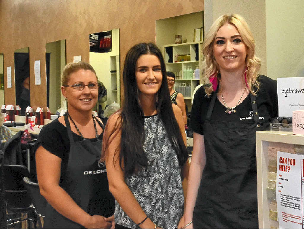 STAY POSITIVE: Jenna Pettiford, Brooklyn Walker and Charlotte Hockings – three apprentices hairdressers at Clare's Hair Together and True Beauty – ask young jobless to stay positive.