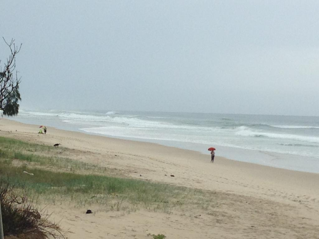 The scene at South Golden Beach, where the body of a surfer, aged in his 50s, has been found.