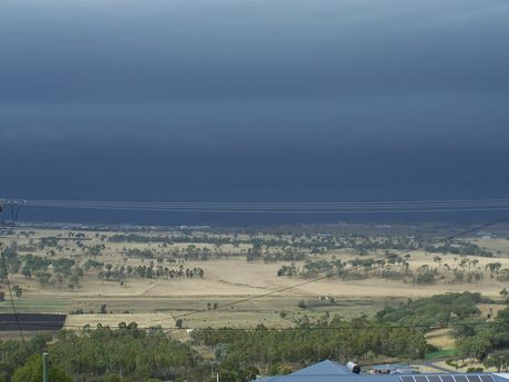 Thunderstorms roll towards Toowoomba. Photo taken from Gowrie Junction by Lorraine Stern.