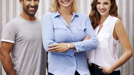 Better Homes and Gardens host Johanna Griggs with new presenters Adam Dovile and Demi Harman.