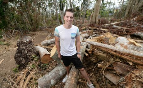 Kieron Smedley at Cooberie Park where fallen trees destroyed a number of animal enclosures. With the help of many volunteers they are getting things fixed up and hope to reopen for Easter. Photo: Chris Ison / The Morning Bulletin