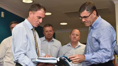 Fraser Coast Regional Council Mayor Gerard O'Connell and MSF Sugar chief executive Mike Barry at the lodging of the Mary Harbour master plan.