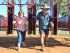 THEY'RE OFF: Morven race club secretary Lyn Cadzow and president Andrew McInnerney race out of the barriers ahead of the club's first race meet for 2015. Photo Ali Kuchel / Western Times