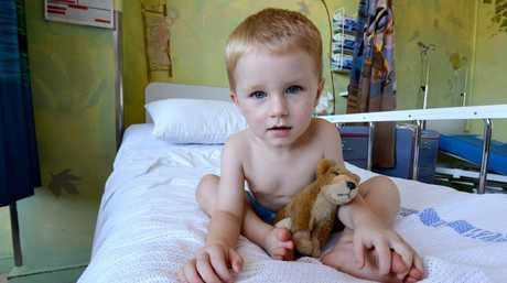 Two year old Parker Kennedy of Cedar Point recovers in hospital after being kicked by a horse. Photo Cathy Adams / The Northern Star