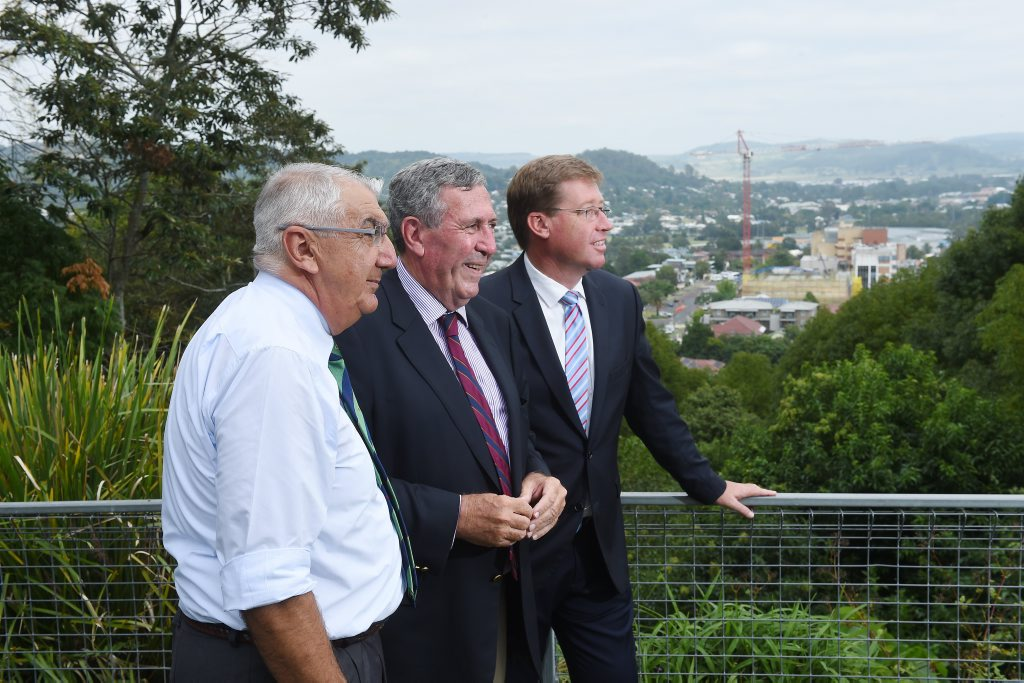 Member for Lismore Thomas George, Minister for North Coast Duncan Gay and Nationals leader Troy Grant announce their intention to buy back licence 445. Photo Marc Stapelberg / The Northern Star