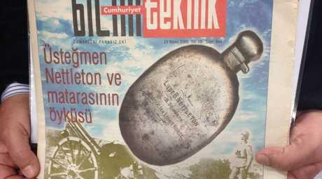 A picture of Burdett Nettleton's flask, bought by Professor Haluk Oral in an antique shop near Istanbul in 1993. The flask is still in Turkey.