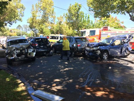 Six vehicles were involved in a crash at the intersection of Hume and James Sts, Toowoomba.