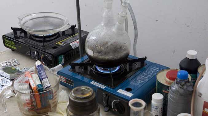 COOKING UP TROUBLE: An example of a drug lab in operation.