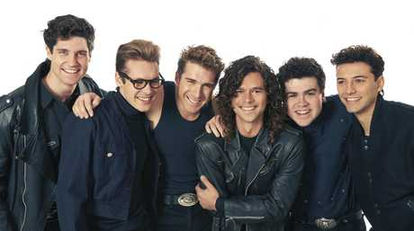 The stars of the mini-series INXS: Never Tear Us Apart, from left, Nicholas Masters, Alex Williams, Hugh Sheridan, Luke Arnold, Andy Ryan and Ido Drent.