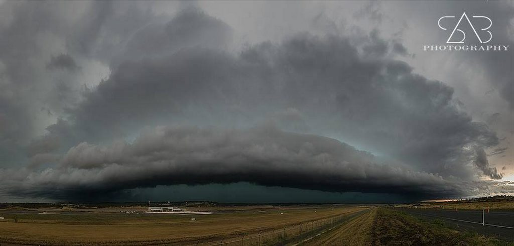 A stunning photo of the storm rolling into Wellcamp Airport. Storms caused widespread power supply interruptions last night.