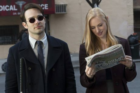 Charlie Cox and Deborah Ann Woll in a scene from Marvel's Daredevil.