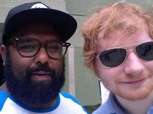 Rocky musician Jeremy Marou snaps selfie with Ed Sheeran