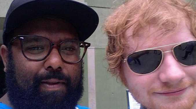 CELEBRITY SELFIE: Rockhampton's Jeremy Marou of Busby Marou poses with international superstar Ed Sheeran.