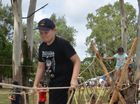 Cub Joseph Buhse keeping his balance on the rope bridge. Photo Barclay White / South Burnett Times