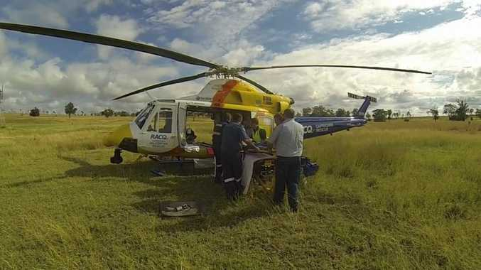 RACQ Capricorn Helicopter Rescue Service were called to a property west of Biloela on Monday morning. Photo Contributed