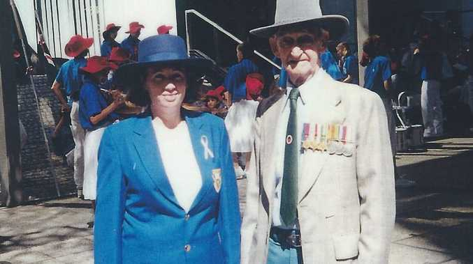 World War II veteran Harry Vincent with his Tannum Sands granddaughter Jodi Pallett at one of the many Anzac Day marches the pair walked together.