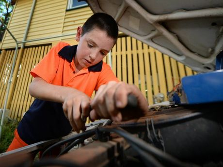Jack Simmons (10) had planned to take the proceeds from the sale of his motorbikes to help fund the build of his stock car until thieves stole the motorbikes from the family's front yard. Photo: Chris Ison / The Morning Bulletin