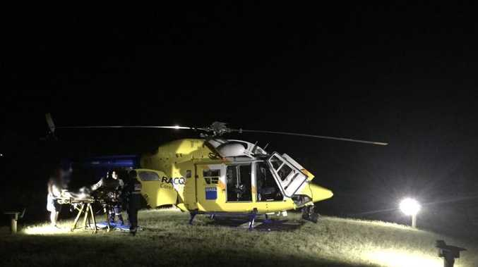 RESCUE: A backbacker has been airlifted by RACQ CareFlight Rescue from Fraser Island in the early hours of Tuesday morning after she was bitten by a snake. Photo Contributed