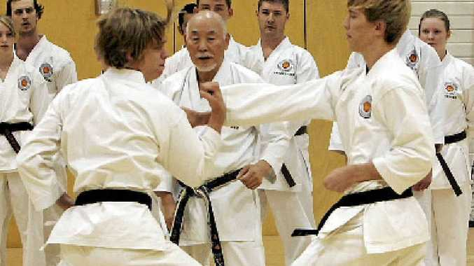 Action at a traditional Shotokan karate grading in Rockhampton.