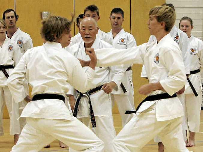 Action at a traditional Shotokan karate grading in Rockhampton.