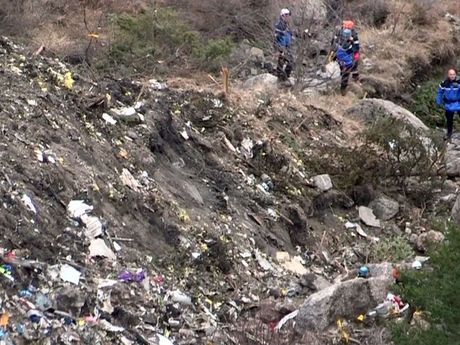Search and rescue personnel at the crash site of the Germanwings Airbus A320 in the French Alps
