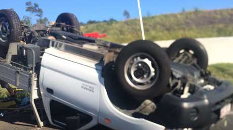The vehicle involved in a crash on the up-section of the Toowoomba Range this morning.