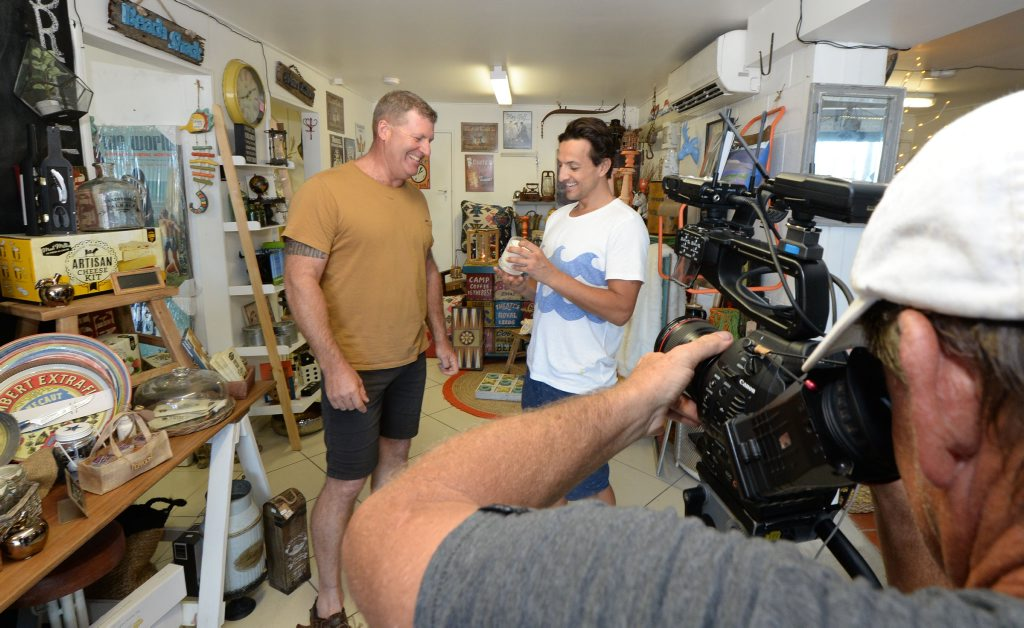 L-R Coastal Funk owner Chris Duane with Queenslander Weekend presenter Chris Parsons during a filming segment in Yeppoon. Photo: Chris Ison / The Morning Bulletin