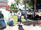 Uenomiya-Taishi Junior High School students from Osaka in Japan watch the firing of the time cannon at the Maryborough Heritage markets.