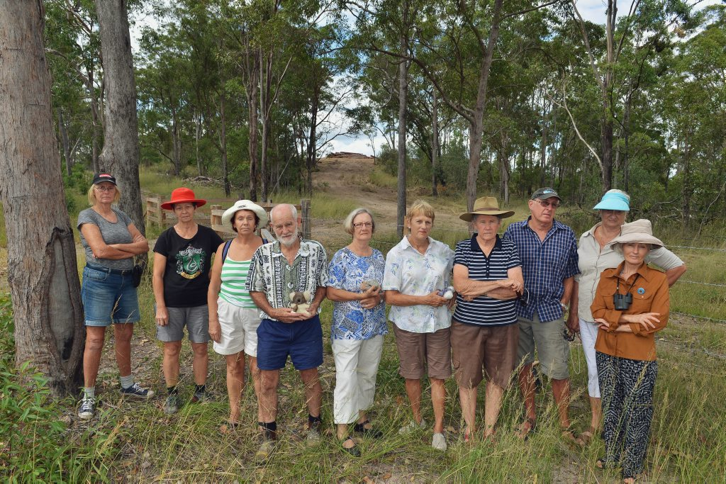 Clearing of land off Groundwater Road, Gympie. From left, Maureen Lambooy, Coral Graham, Sylvia Kincs, Don Sinclair, Annette Bourke, Nonie Metzler, Robin Breen, Bruce McCulloch, Barbara Yule and Wendy McPherson protesting at the clearing of habitat trees. Photo Greg Miller / Gympie Times