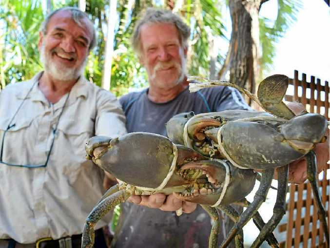 BEAT THIS, BOYS: The owner of Keppel Sands Hotel Simon McAulay-Powell and carpenter Trevor Eaton show off their crabs in preparation for the Pubtastic event next weekend.