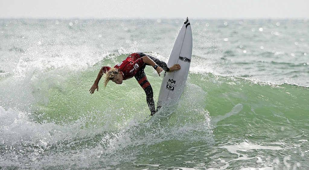 SURFING PRODIGY: Sunshine Coaster Kai Hing ripping in the Port Taranaki Pro New Zealand NZ Home Loans Surf Festival.