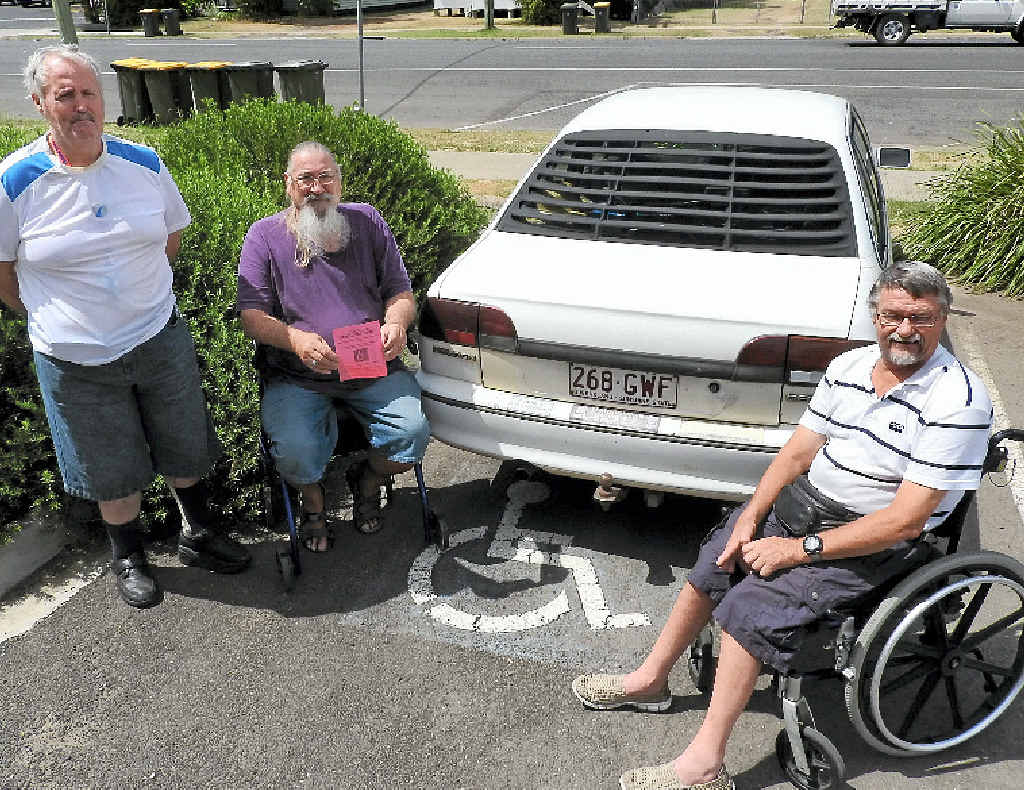 ACTION TAKEN: Paul Daly, Alan Carter and Mark Morrison from the Western Downs Access Committee are tired of seeing people without permits occupying disabled parking spots.